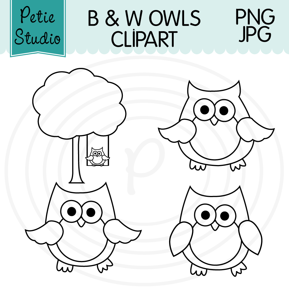 Free Owl Clipart Black and White Outlines - Petie Studio ...