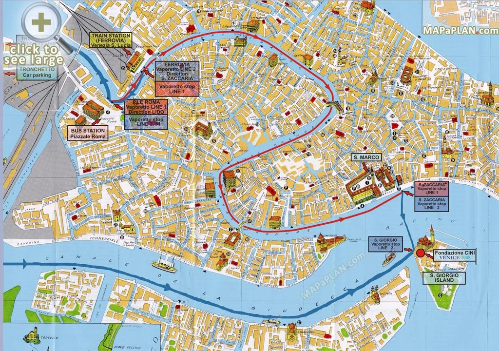 Train Station Venezia Santa Lucia Water Buses With Streets Overlay - Venice map image