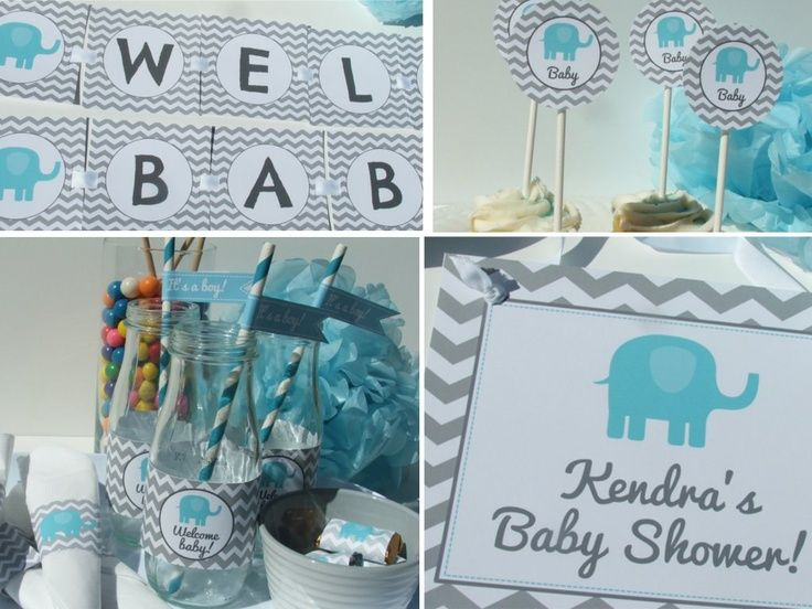 Boy Elephant Baby Shower Decorations Chevron Printable DIY Party Package.  $20.00, Via Etsy.
