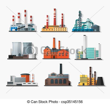 Power Plant Icons In Flat Style And Long Shadow Nuclear Power Plant And Chemical Plant Old Factory And Modern Plan Plant Icon Power Plant Thermal Power Plant
