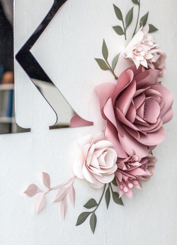 Personalized Paper Flowers Wall Decor - Personalized Nursery Decor - Personalized Nursery Wall Art - Paper Flowers (code:#143) #bigpaperflowers