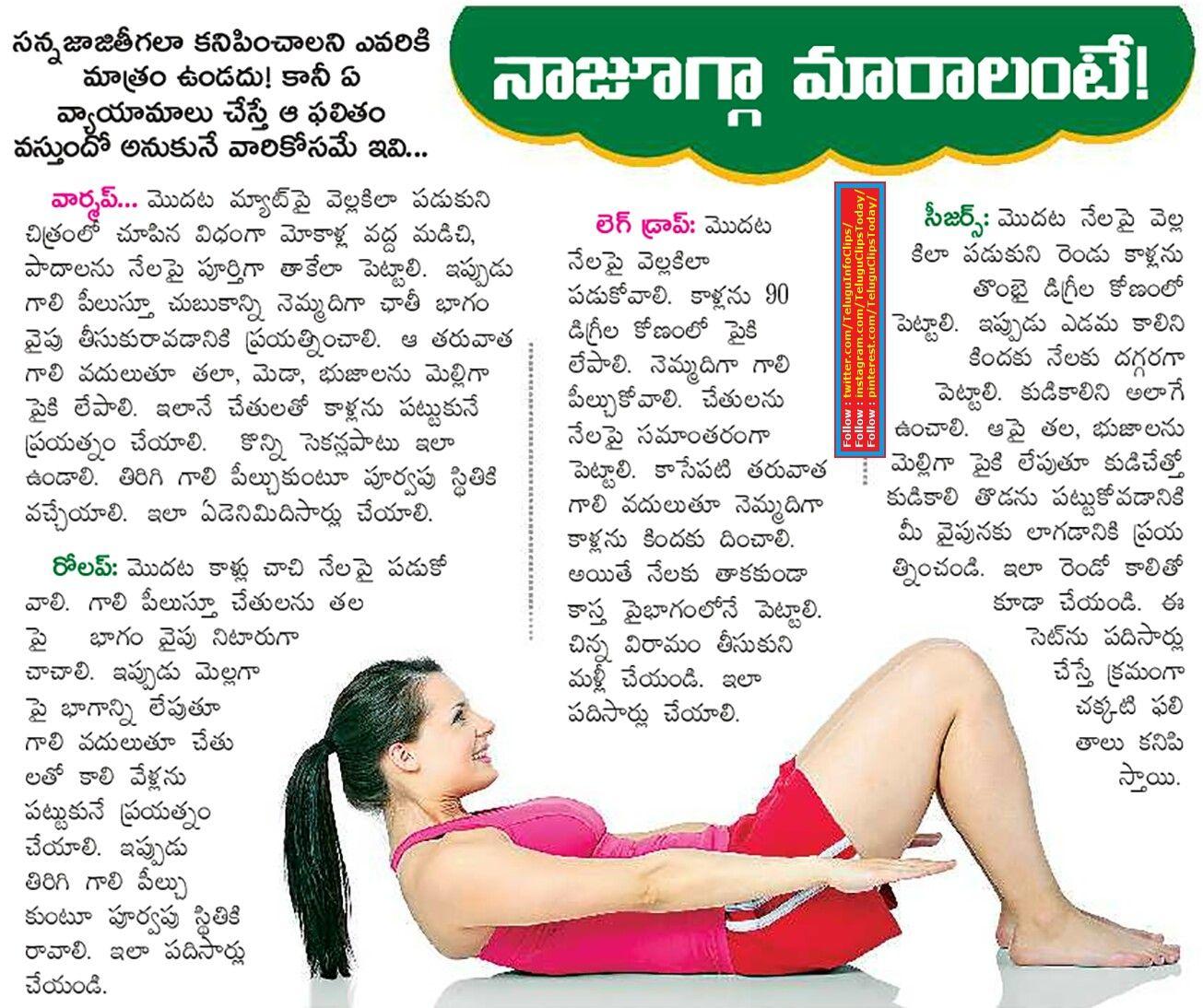 Yoga Exercises To Slim Info In Telugu In 2020 Yoga Fitness Exercise Ads