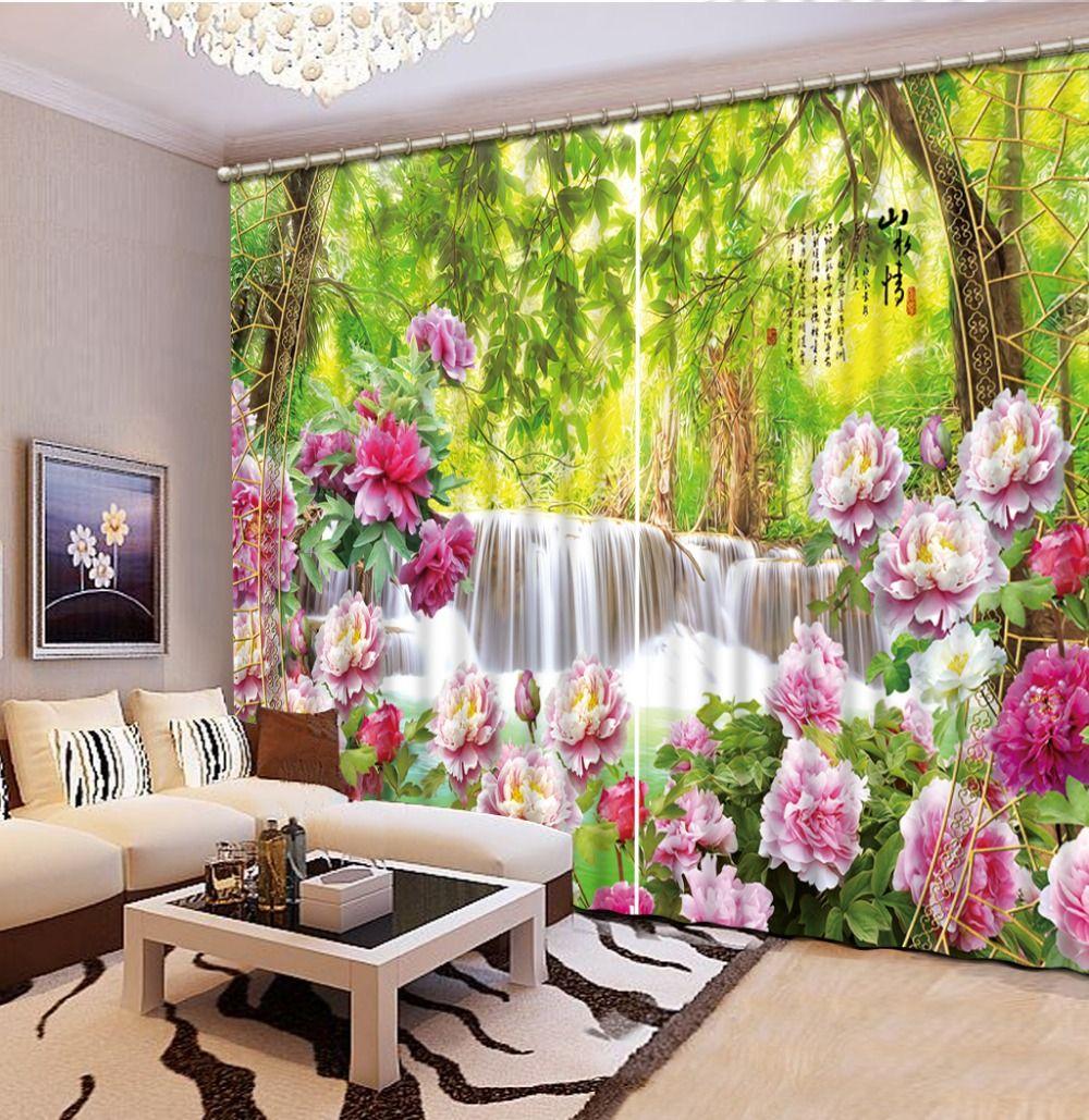 Günstige Vorhänge Für Wohnzimmer 3d Blume Landschaft 3d Fenster