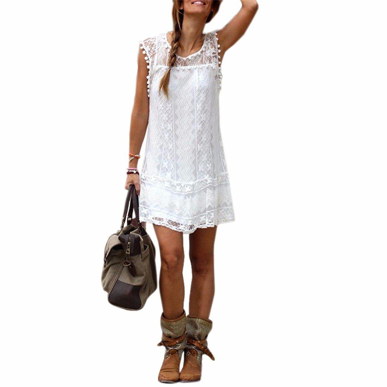 Sommer weisse Minikleid Frauen Spitze Kleid Beilaeufiges Sleeveless ...