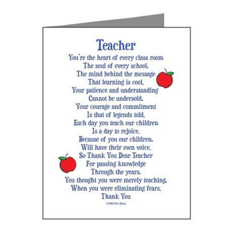 teacher thank you note cards pk of 20