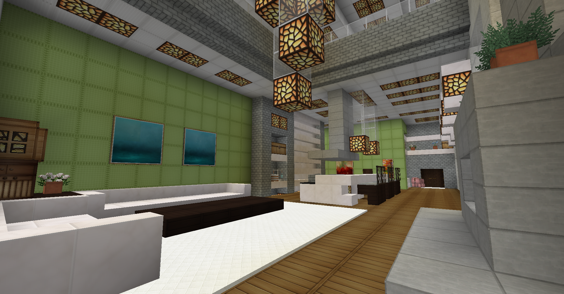 minecraft survival modern house interior living room kitchen rh pinterest co uk