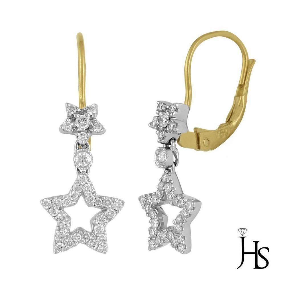 Tone Gold 051 Ctdiamond Star Shape Cluster French Back Earrings  Ghsi2