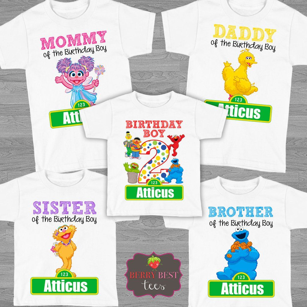 e21dc234 Sesame Street Birthday Shirt - Personalized with Name and Age - Family Sesame  Street Shirts