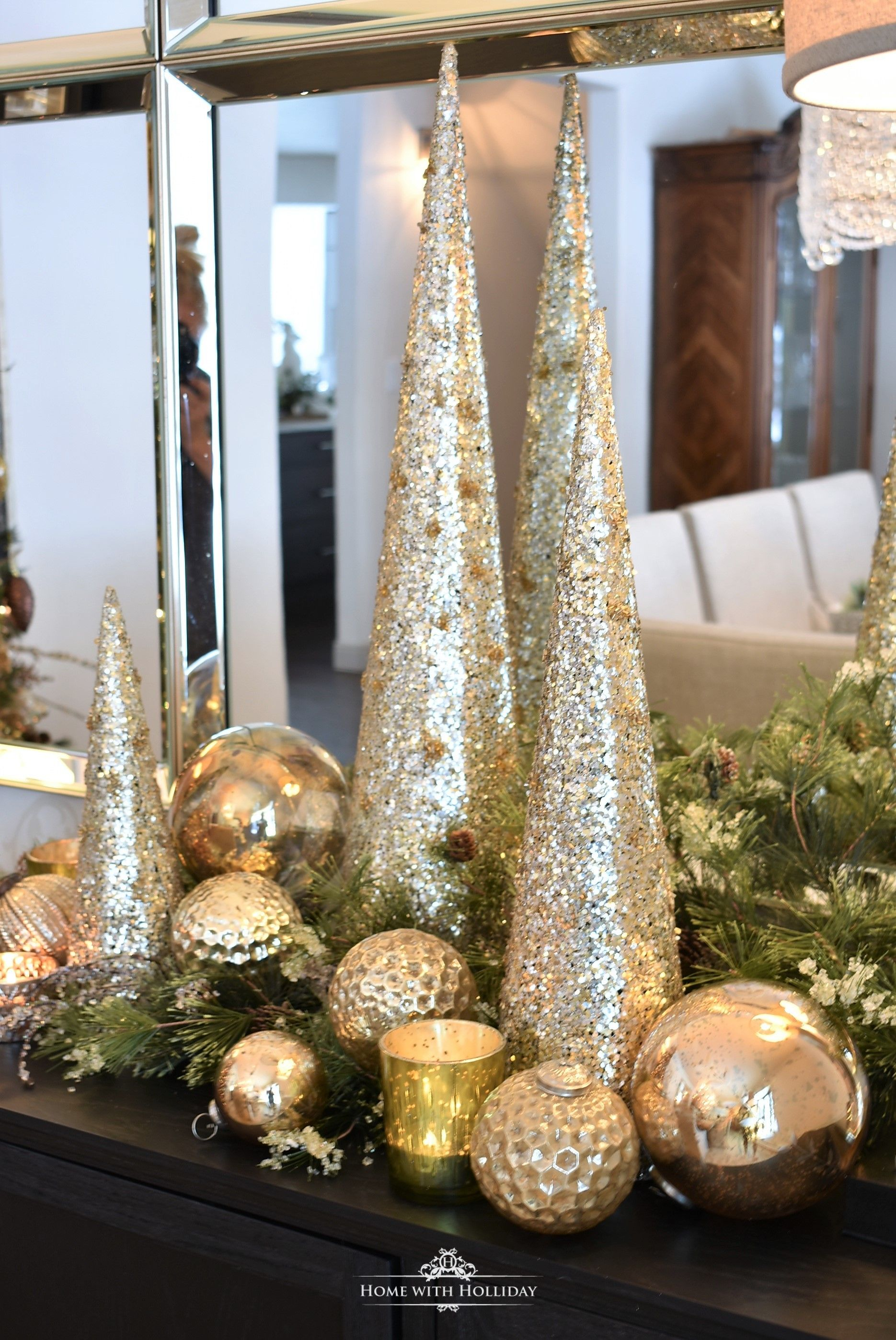 silver and gold glam christmas centerpiece christmas trees rh pinterest com