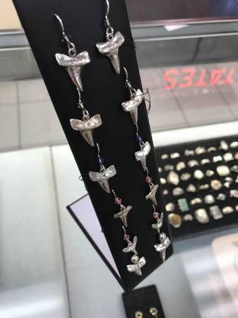 Solid Sterling Silver Shark Teeth Dangle Earrings. We have ...