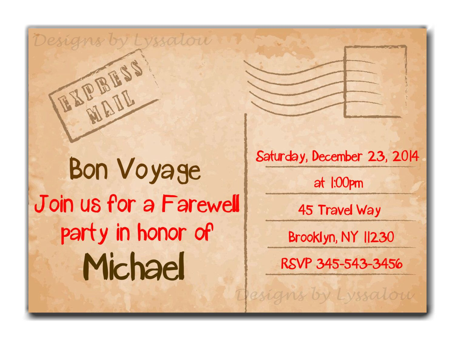 Travel / Farewell Party Invitation, Bon Voyage - Going Away Party ...