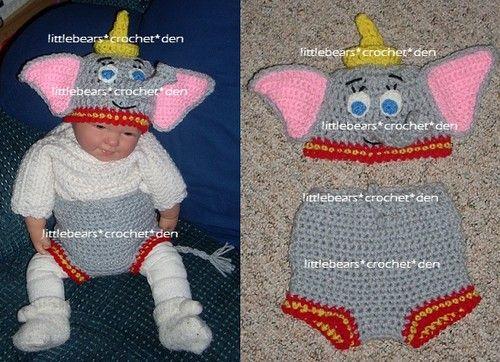 65788a0c228 LBCD Custom Boutique Crocheted Disney Dumbo Elephant Diaper Cover Hat Baby  Set