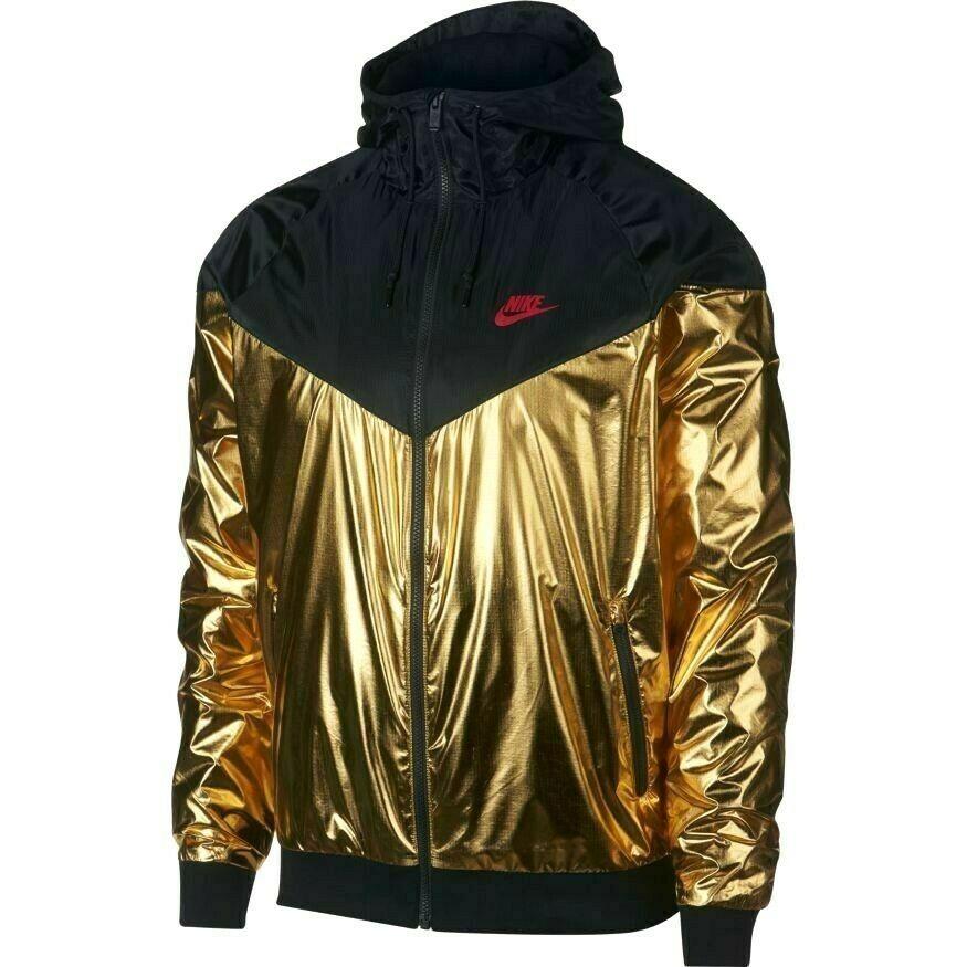 0c18e300ce Nike Sportswear Metallic Windrunner Jacket Mens XL Black Metallic Gold  Nike   TrackJacket
