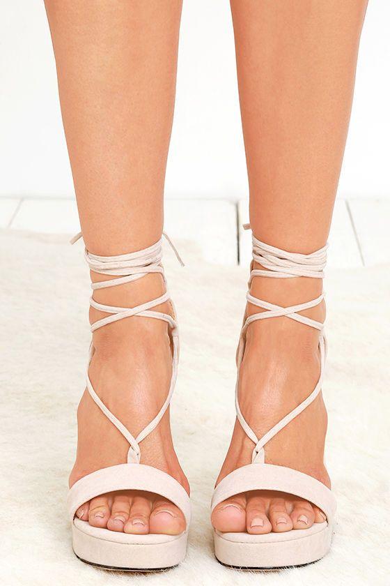 e32d95776c52 Sexy Nude Heels - Platform Heels - Lace-Up Heels - Vegan Suede Heels -   37.00