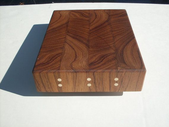 Golden End Grain Teak Wood Cutting Board With By