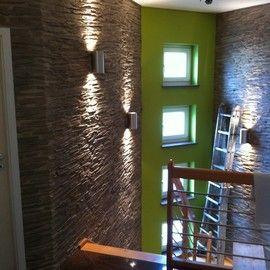 nachher: wandverkleidung im treppenhaus mit kunststeinpaneel m-093 ... - Schiefer Wandverkleidung Wohnzimmer