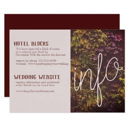 Ruby Plant Wall Info Card  Invitations Personalize Custom Special
