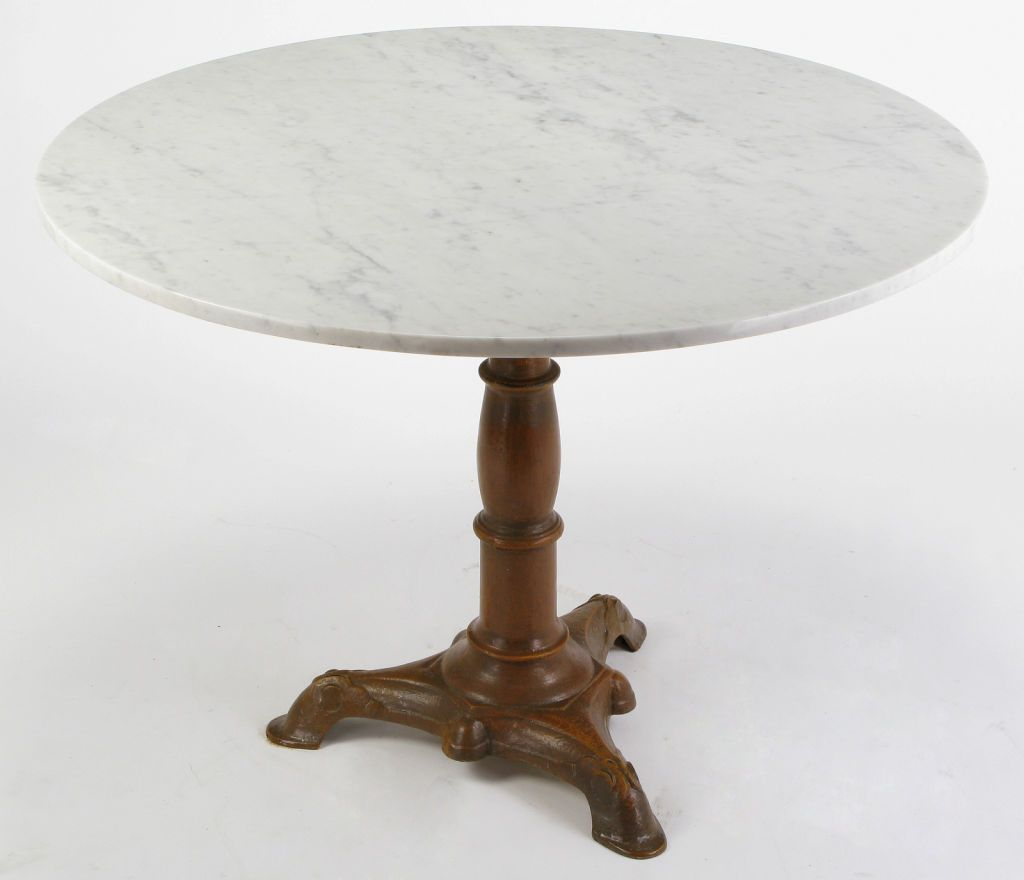 Modern round pedestal dining table - Modern Round Pedestal Dining Table Using Round Carrera White Marble And Cast Wood Pedestal Dining Table