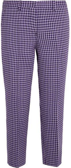 factory price 2ecfd 1d024 Miu Miu - Cropped Checked Wool Straight-leg Pants - Purple ...