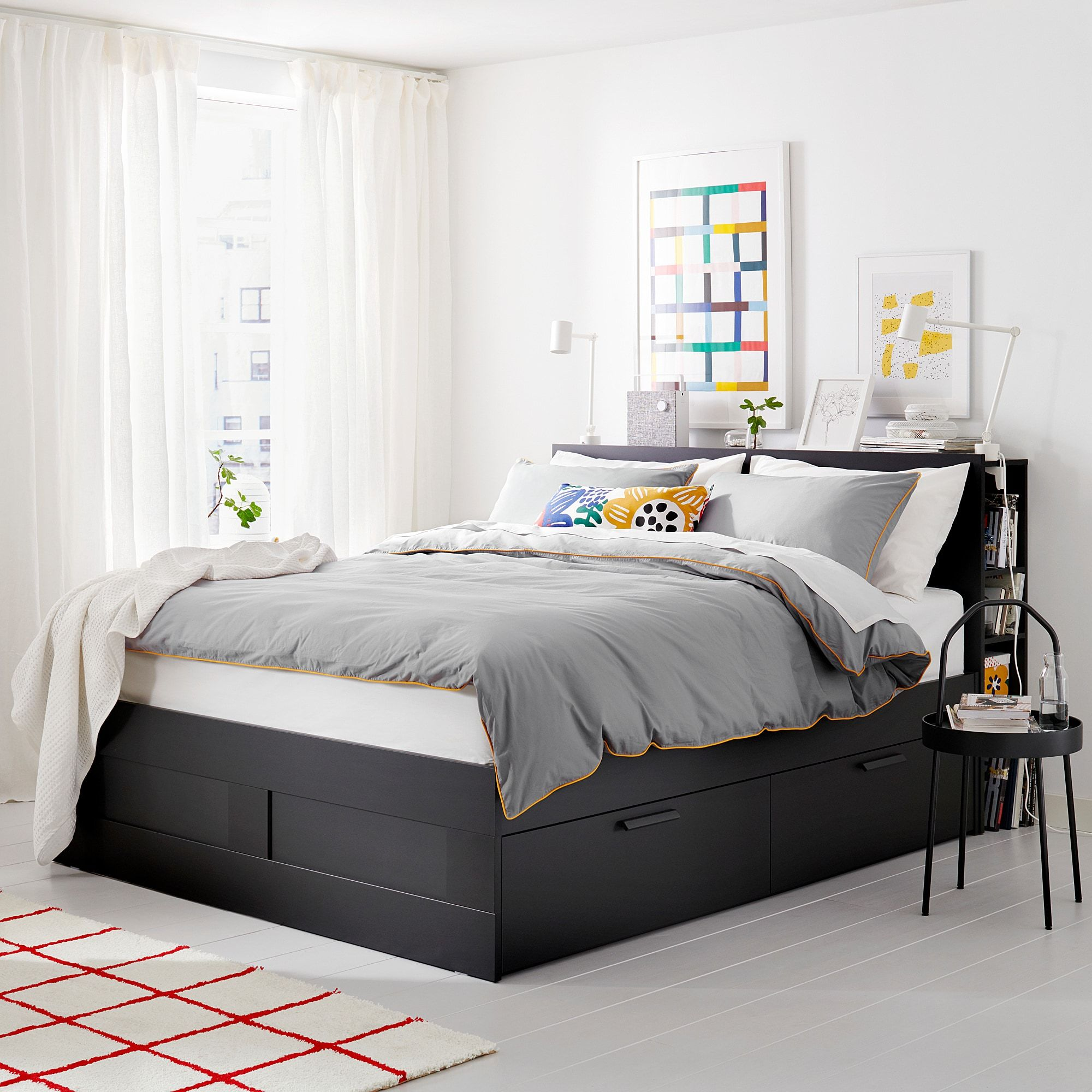 Ikea Brimnes Black Bed Frame With Storage Headboard Headboard