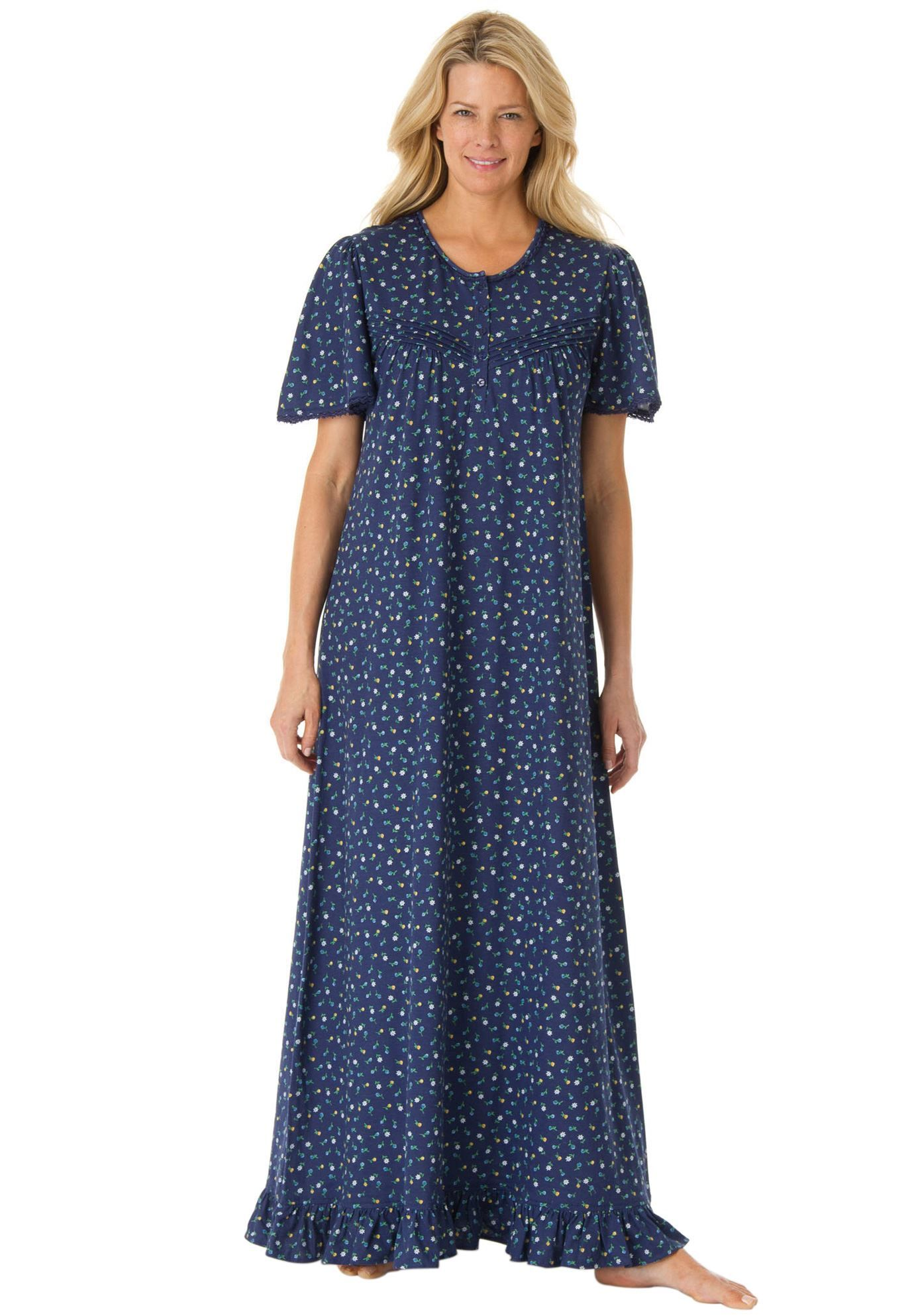 Long cotton knit gown by Dreams & Co® Plus Size Sleep