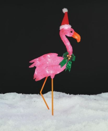 christmas lighted flamingo with santa hat outdoor christmas yard decor ebay