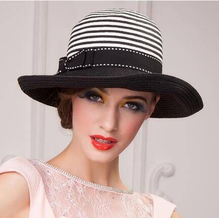 British style black and white striped straw hat for women bow sun hats b26c747957b