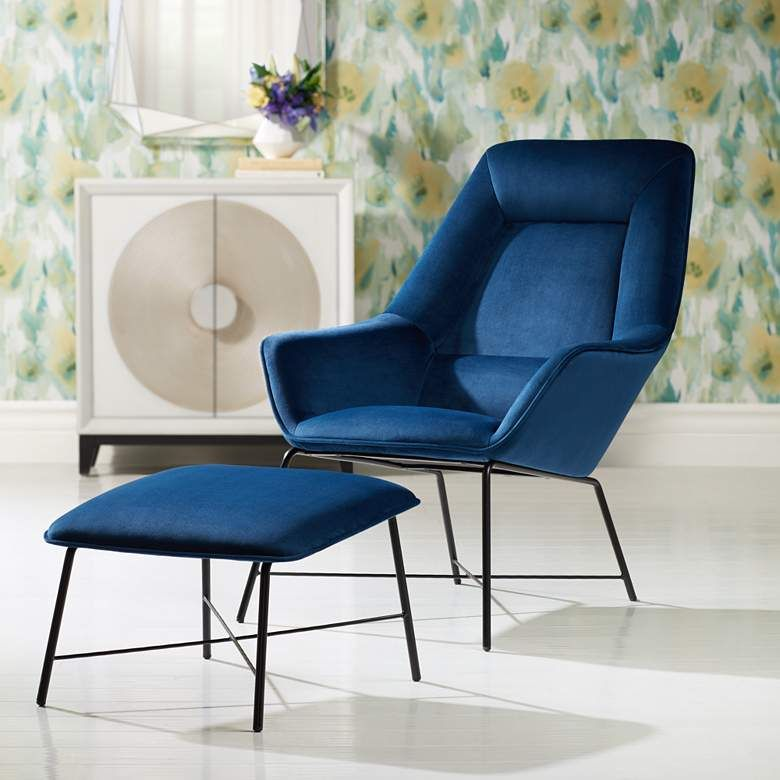 Hemingway Blue Velvet Lounge Chair With Ottoman 77n81 Lamps Plus In 2020 Velvet Lounge Chair Blue Living Room Decor Contemporary Lounge Chair