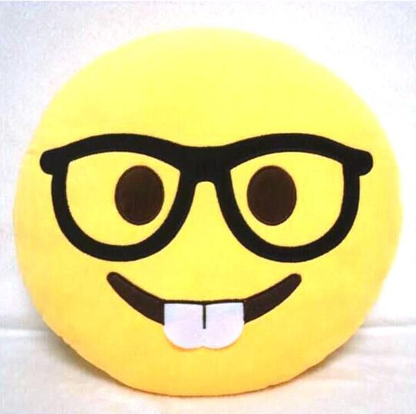 Style Smiley Emoji Yellow Round Pillow Sofa decorative pillows - Home Styling & ...