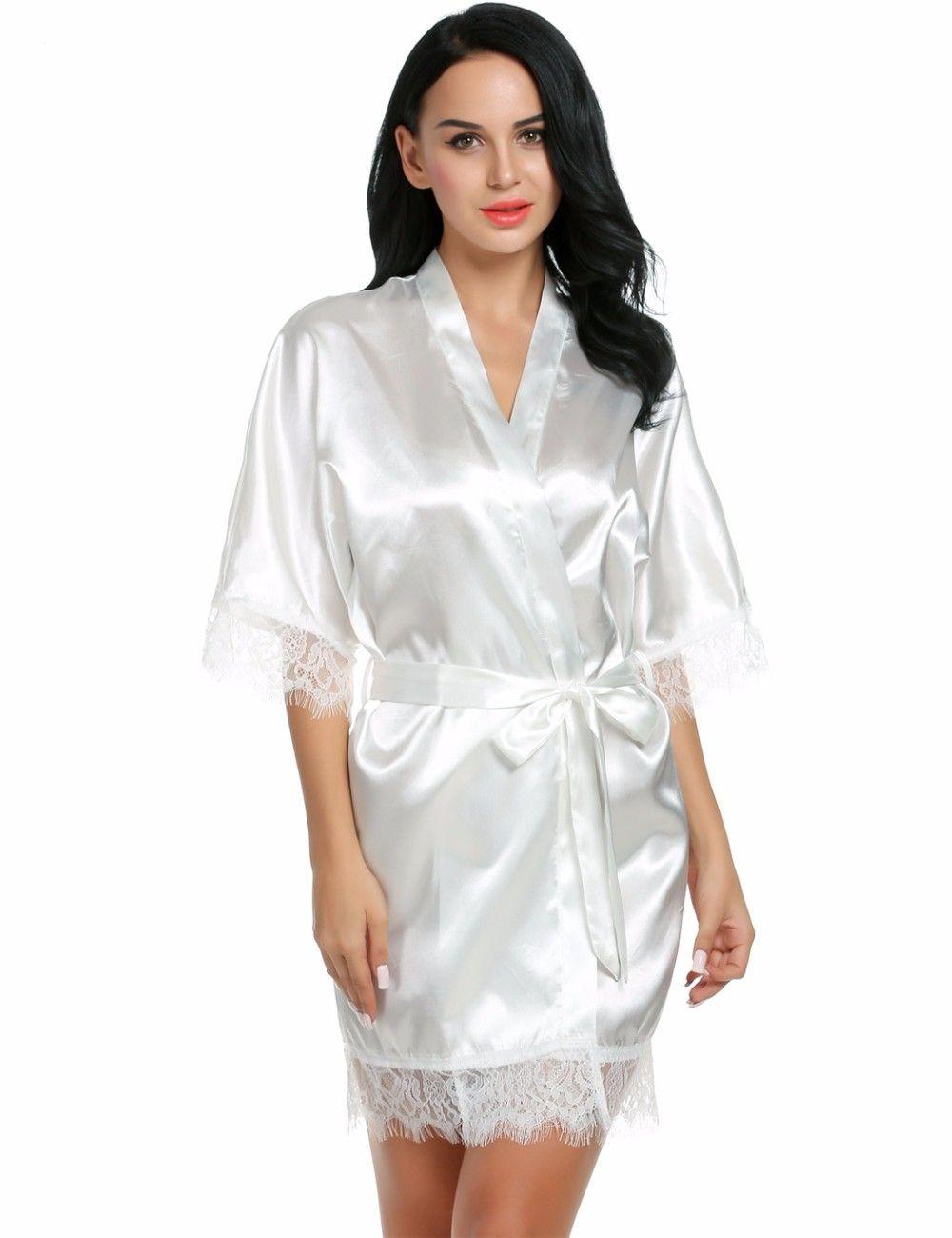 b2fc77f29  33.99 - Nice Sexy Wedding Dressing Gown Women Short Satin Bride Robe Lace  Silk Kimono Bathrobe Summer Bridesmaid Nightwear Plus Size Peignoir - Buy  it Now!
