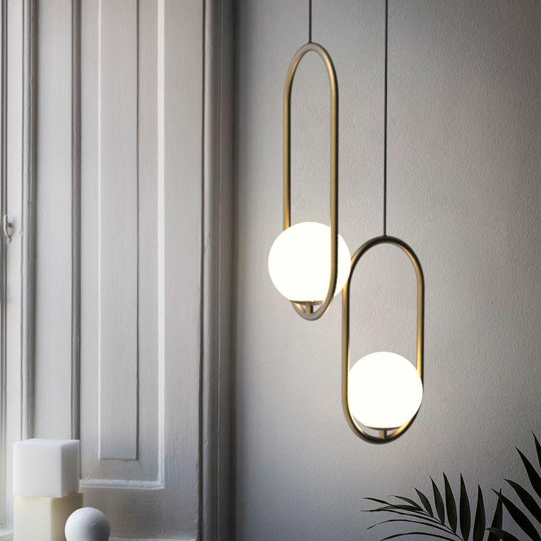 Insuppar Oval Ring Ball Pendant Lamp Gold Pendant Lighting