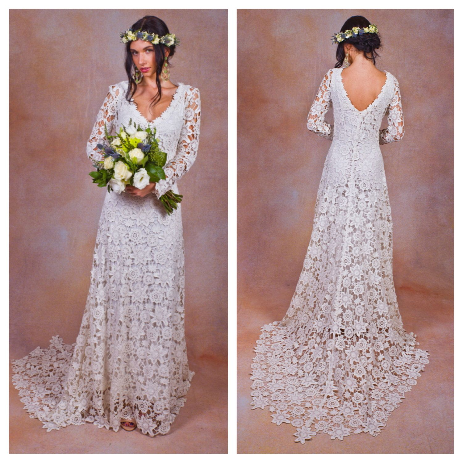 Rustic boho wedding dress simple crochet lace bohemian wedding
