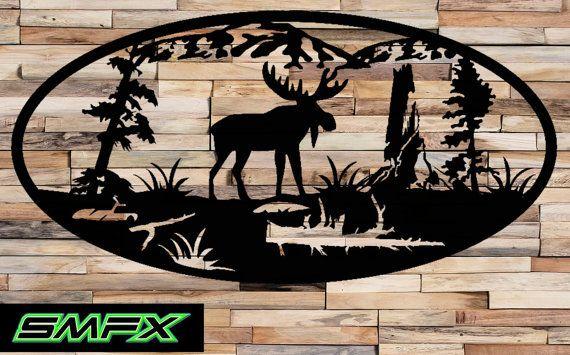 Large Moose Scene Metal Wall Art Moose Wall Art Art Metal Wall Art