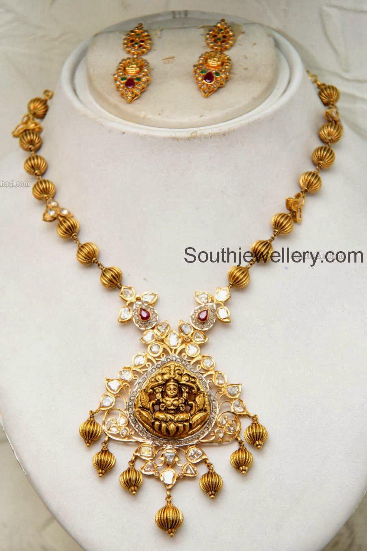 Beaded necklace with lakshmi pendant photo gold pinterest bead