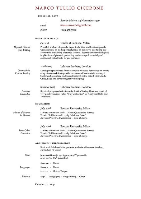 Resume Templates Latex The Cv Inn  Cv Template
