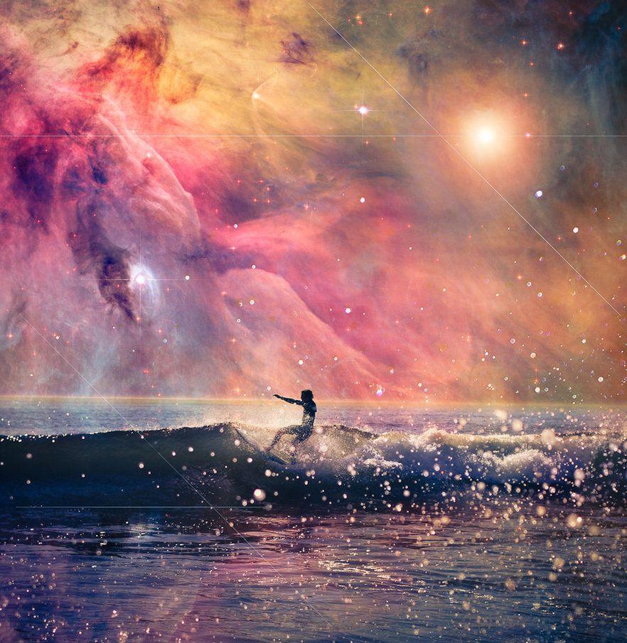 Galaxy surf art, cosmic fashion trend. | Fotos, Lugares raros, Arte