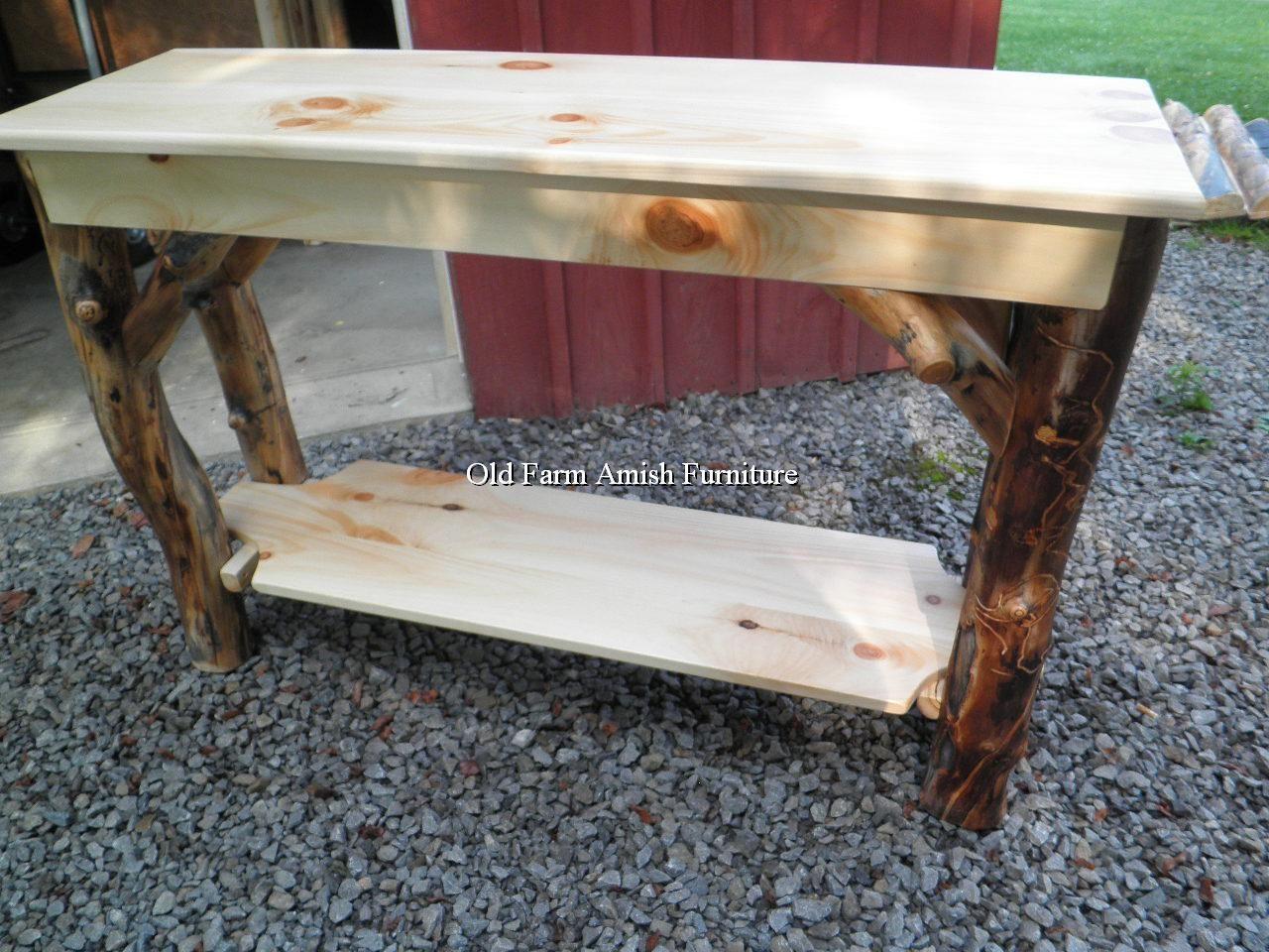 aspen log sofa table tv stand old farm amish furniture dayton pa rh pinterest com