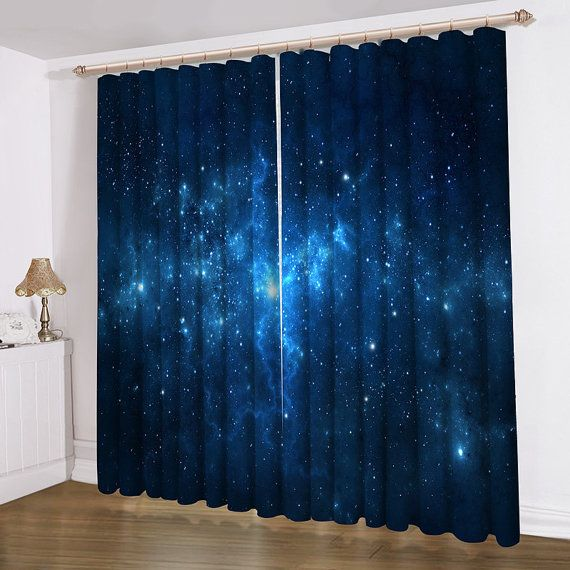 Blue Galaxy Curtain 52 X84 Valance Window Treatments Blackout Curtain Panels Master Bedroom
