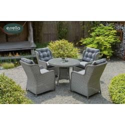 Photo of Poly rattan seating group Denver 4-person round weave Essella