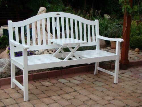 Gartenbank holz mit tisch  Gartenbank Mit Ausklappbarem Tisch Weiss Holz Eukalyptus ...