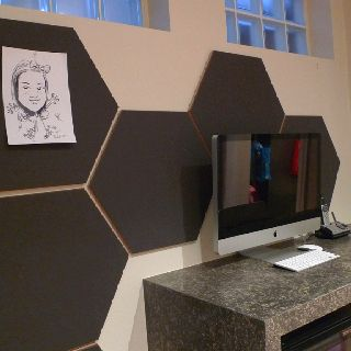 Hexagonal Design Notice Board In Busy Family S Kitchen