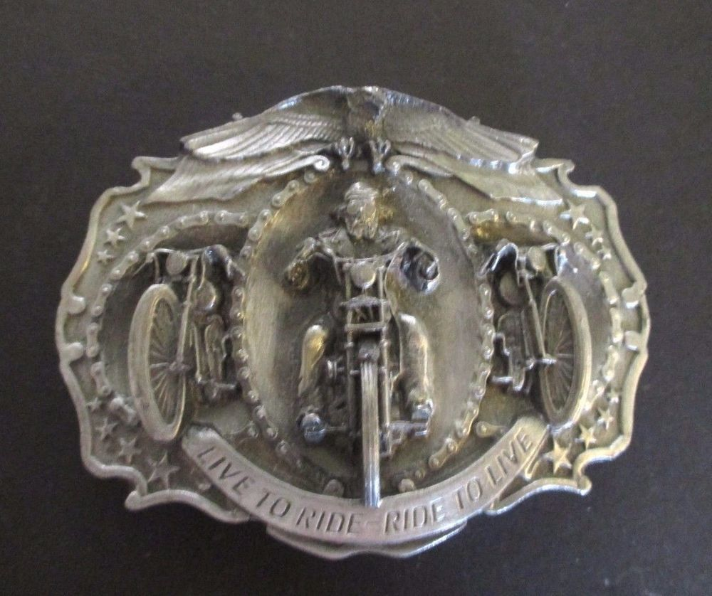 de7e4c6c3571 Belt Buckle Motorcycle Live to Ride, Ride to Live Vintage 1987 Bergamont USA