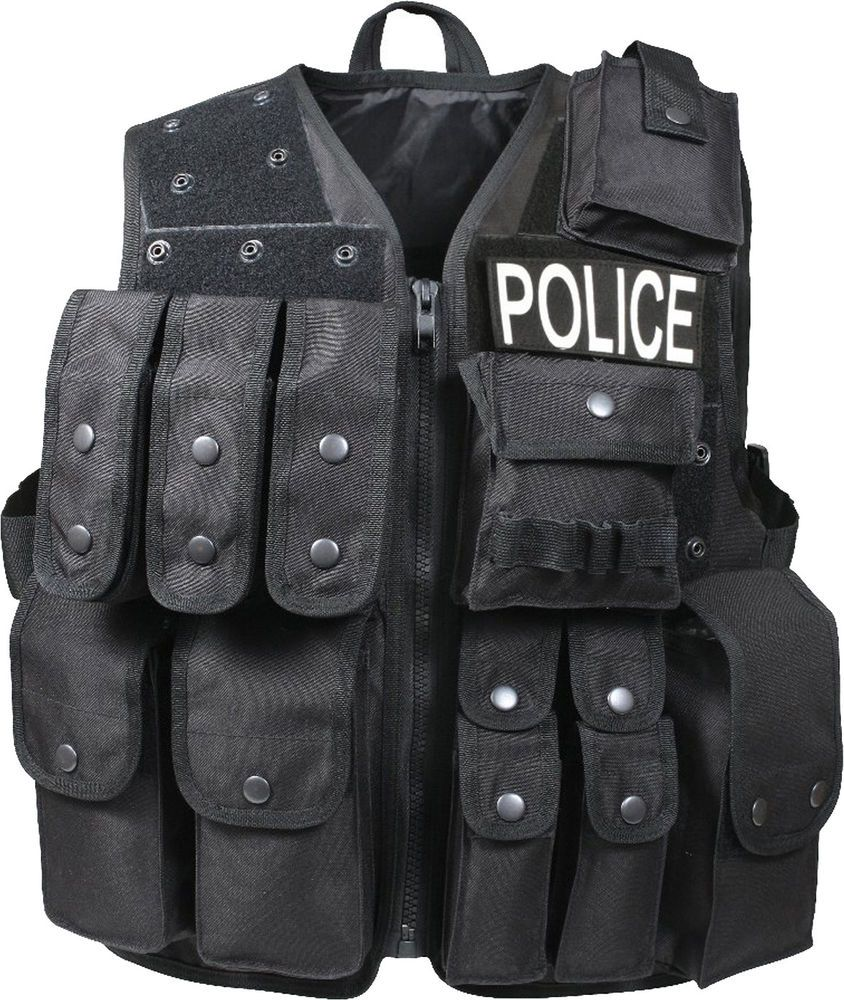 POLICE Black Tactical Raid Vest Patrol Official Law Enforcement Duty  Pouches  Rothco 784c88b7859