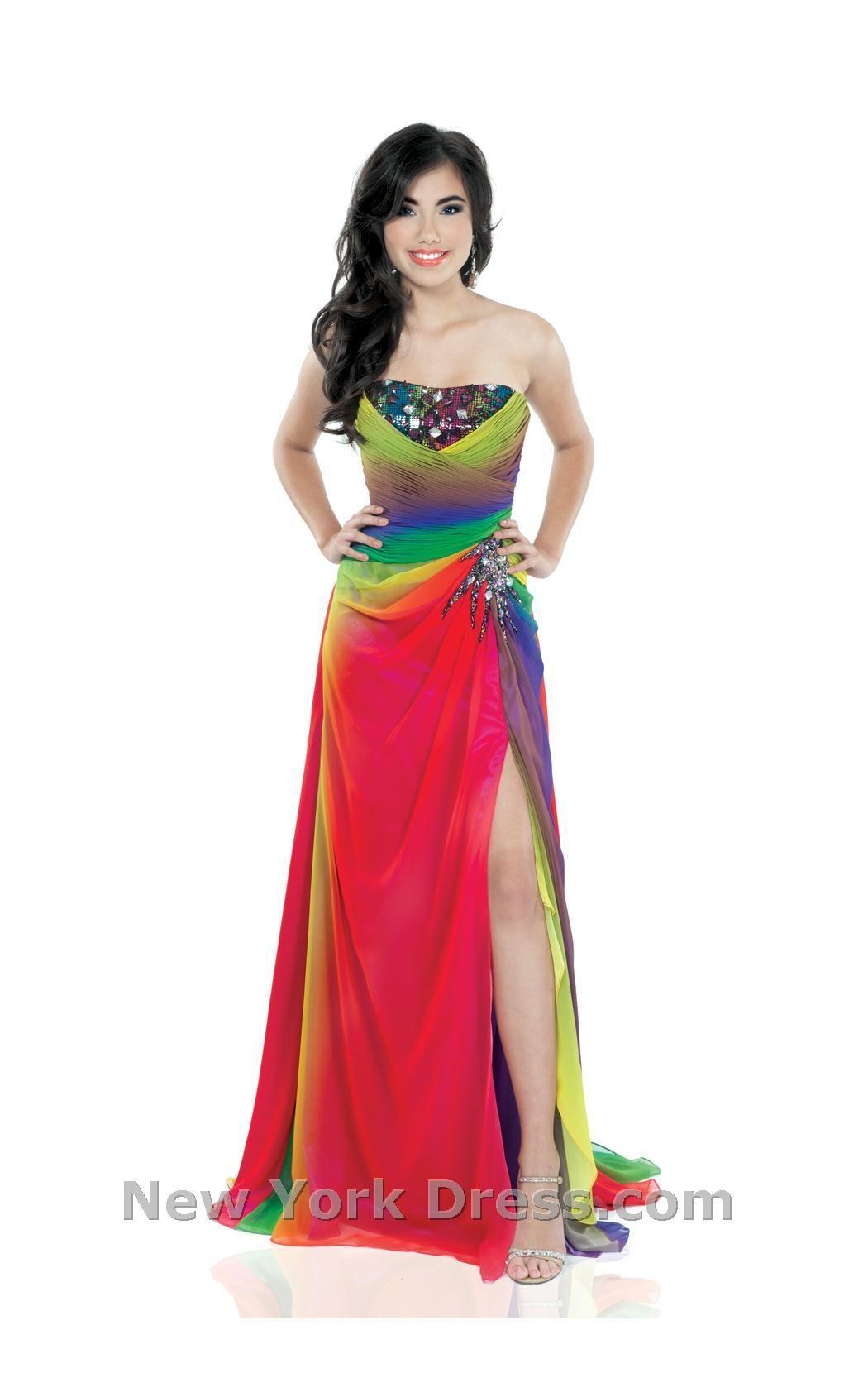 Johnathan Kayne 338 Rainbow Gown Maxi Dress Evening Rainbow Prom Dress Colorful Dresses [ 1689 x 1050 Pixel ]