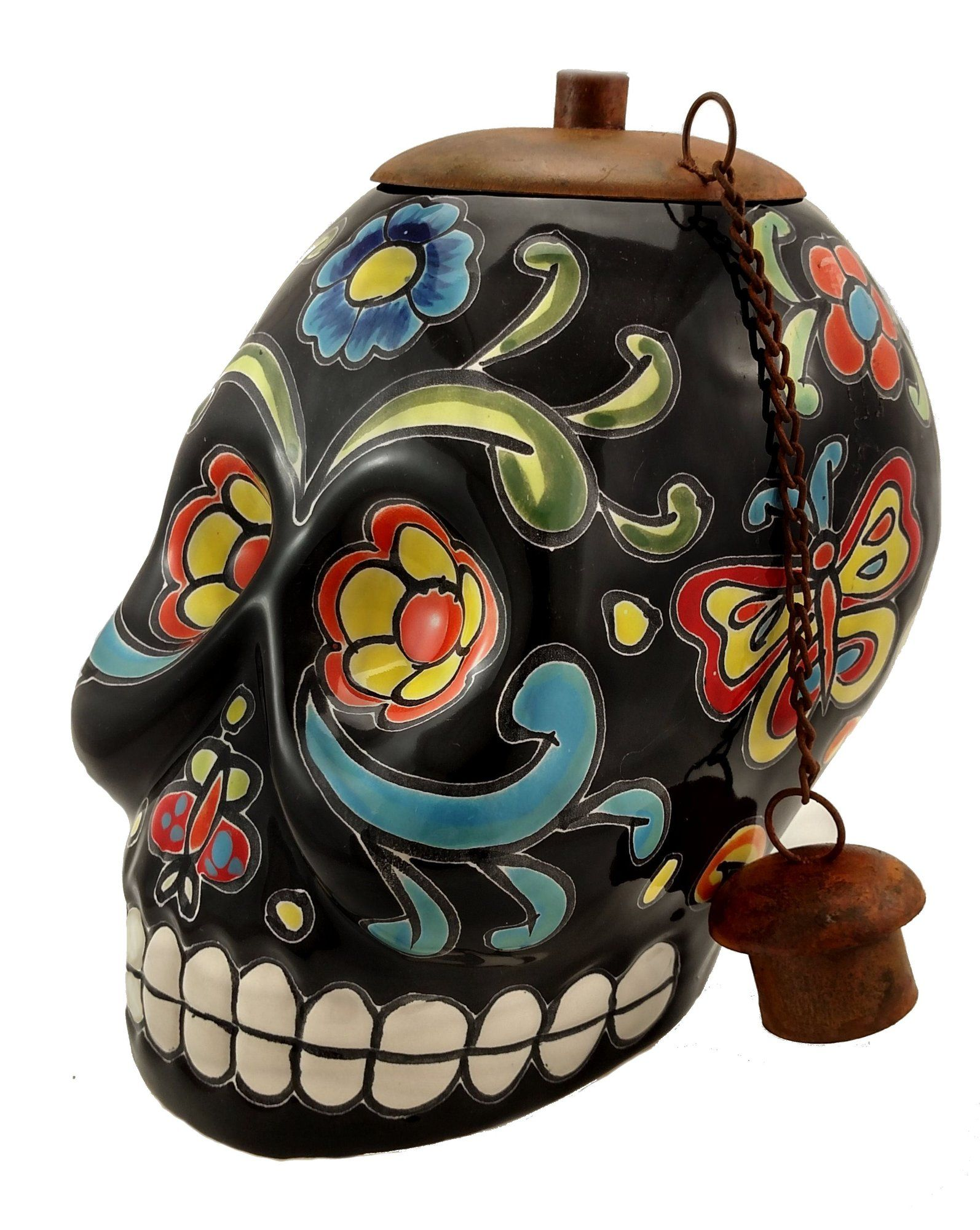 black day of the dead skull tabletop torch bones r brittle tiki rh pinterest co uk