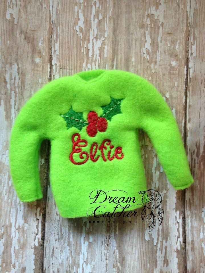 Ith Small Elf Holly Sweater Embroidery Design Dreamcatcher