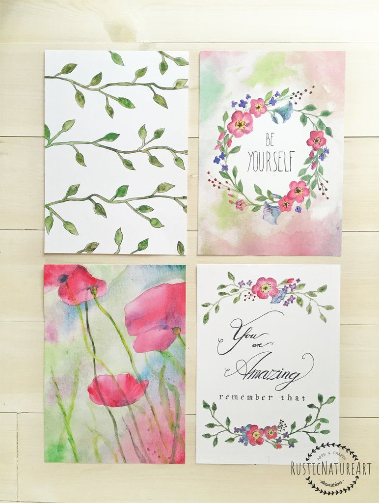 floral wall art print set of 4 with watercolor flowers be your rh pinterest com