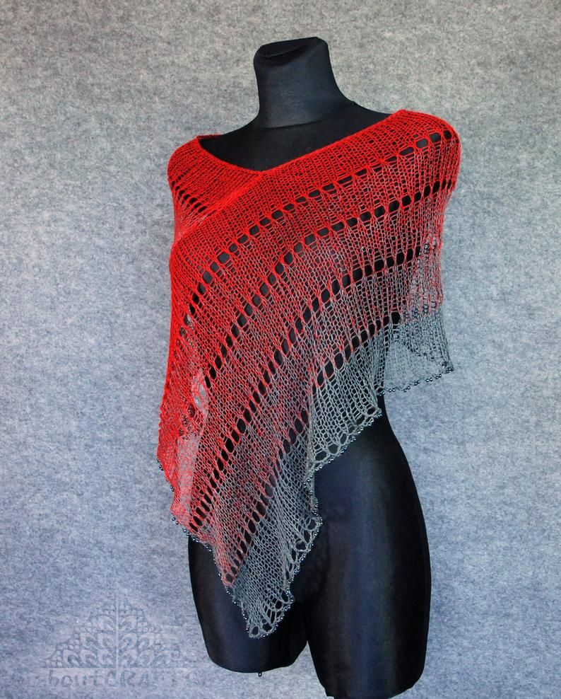 Photo of Knitted Linen Poncho, Red Gray Hand Knit Summer Poncho, Loose Knit Beach Cover Up