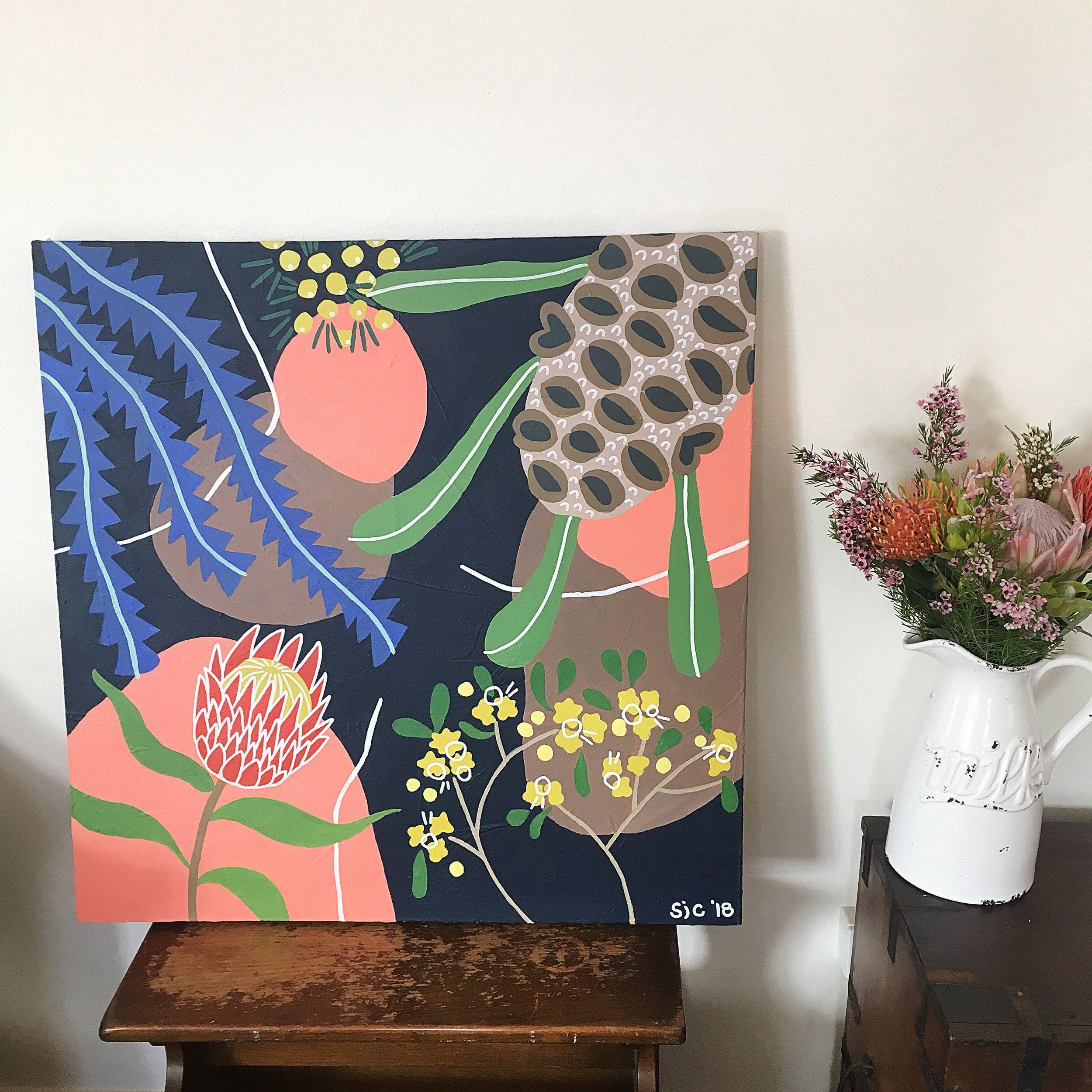 Australian Native flower Painting Flower mural, Protea