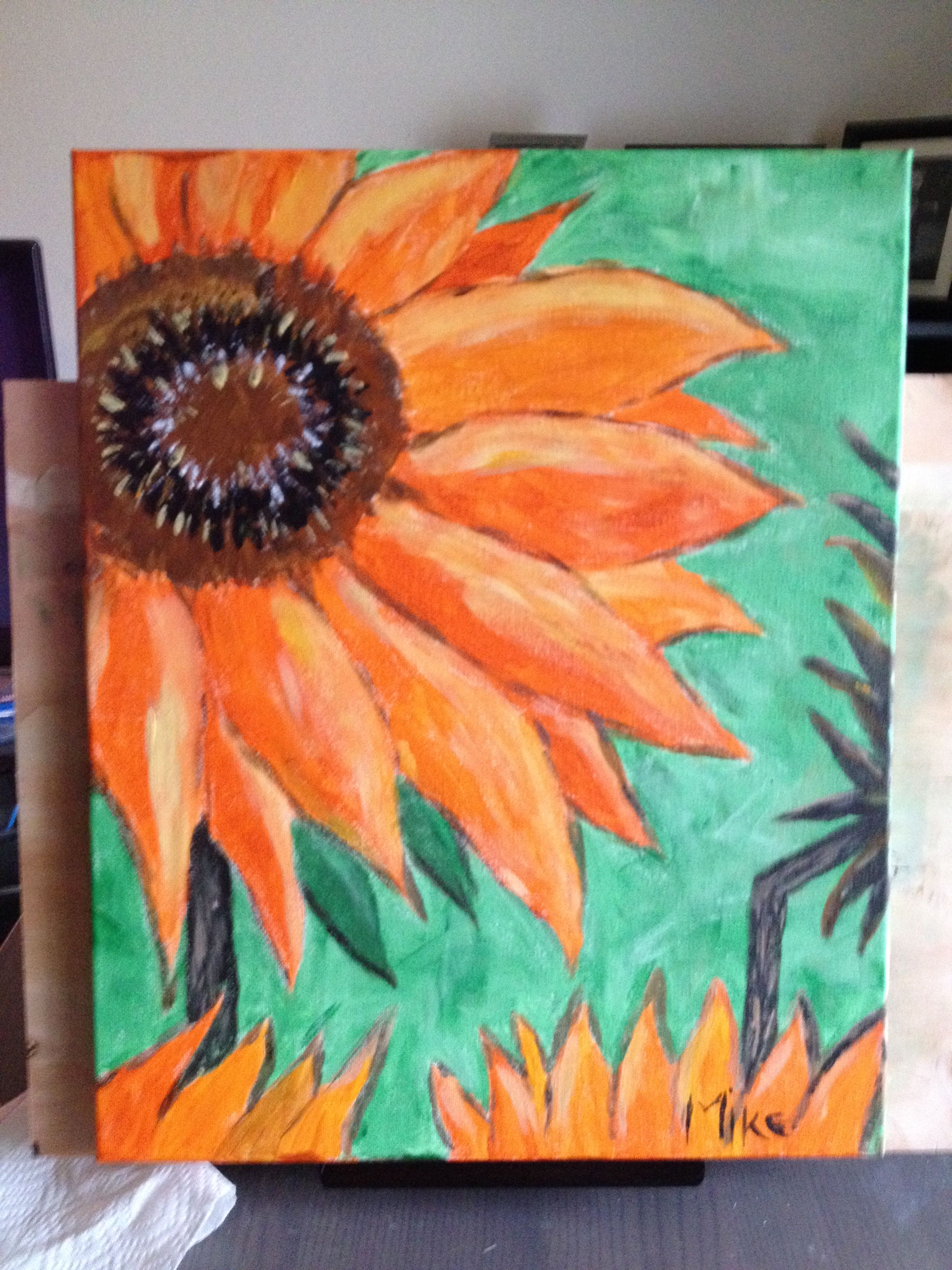 Van Gogh Sunflowers Acrylic on canvas (16x20) Early Art Social class.  Nice image with good colors but I prefer the later paintings.